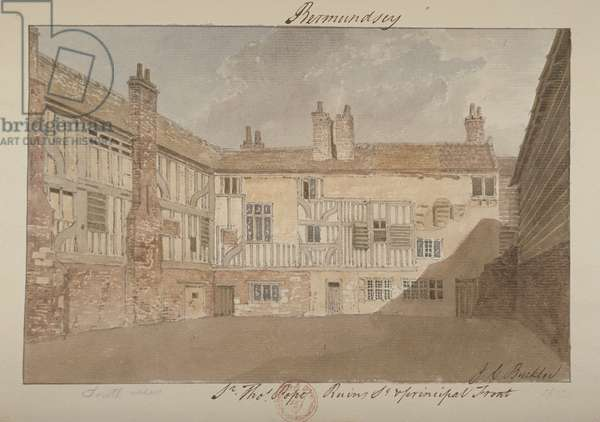 South view of the ruins of Bermondsey House, 1827 (w/c on paper)