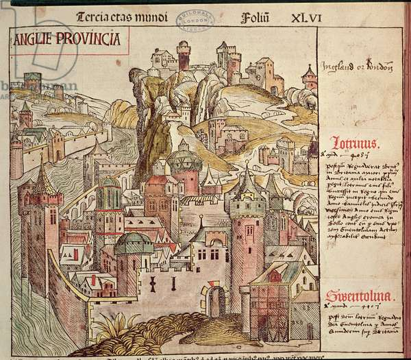 Old London, from the Nuremberg Chronicle by Hartmann Schedel (1440-1514) 1493 (woodcut)