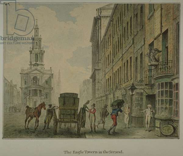 View of the Eagle Tavern in the Strand, Westminster, with a man unloading produce from a horse-drawn cart in the road and St Mary le Strand in the distance, c.1800 (w/c on paper)