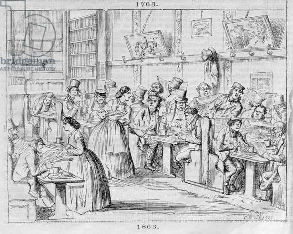 Coffee Room in 1863, from 'London Coffee-Houses Past and Present' (colour engraving)