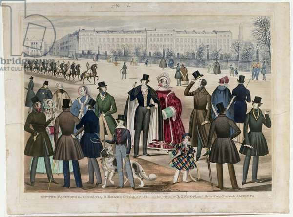 A view in Regent's Park, London, showing Winter Fashions in 1840 and 1841, published by B.Read & Co, 1840 (aquatint on paper)