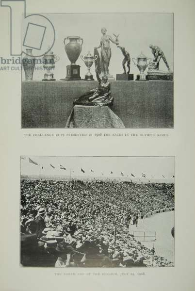 The Challenge Cups and a View of the North End of the Stadium, 1908 (b/w photo)