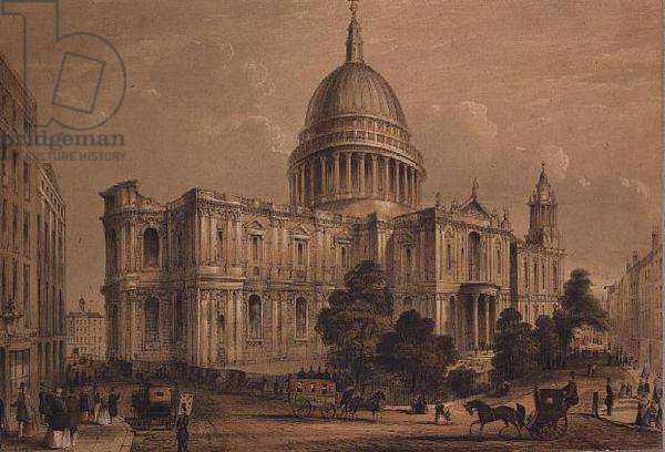 View of St. Pauls from the North East, 19th century (litho)