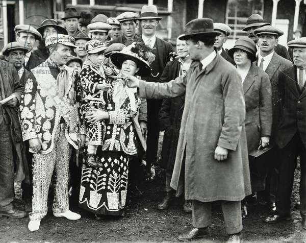 Pearly King, Queen and Prince on Derby Day at Epsom, Surrey, 1924 (b/w photo)