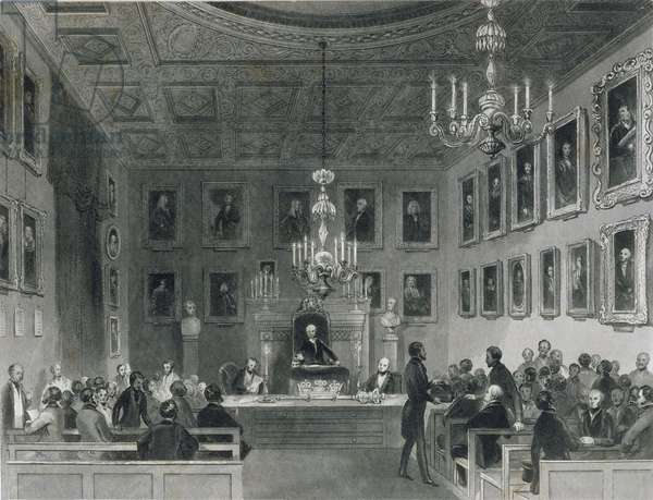 View of the Interior of Somerset House, Showing a Meeting of the Royal Antiquarian Society, c.1840 (engraving)