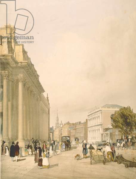 View of the Board of Trade, Whitehall from Downing Street, 1842 (litho)