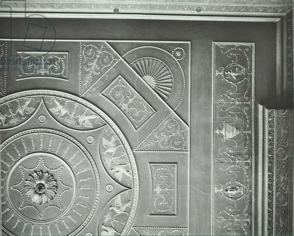 47 Bedford Square: first floor front room ceiling, London, 1913 (b/w photo)