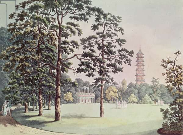 A View in Kew Gardens of the Alhambra and Pagoda, engraved by Heinrich Joseph Schutz (1760-1822), c.1798 (aquatint)