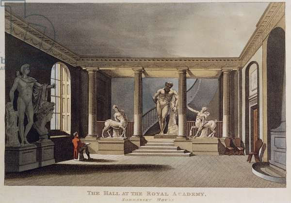 Man drawing a sculpture in the hall of the Royal Academy of Arts in Somerset House, 1810 (engraving)