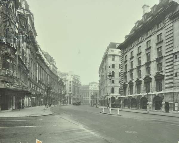 Strand Theatre,  Aldwych, Westminster LB: looking east from Catherine Street, 1930 (b/w photo)