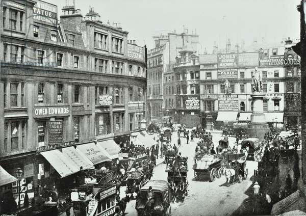 King William Street, looking north, City of London, 1895 (b/w photo)