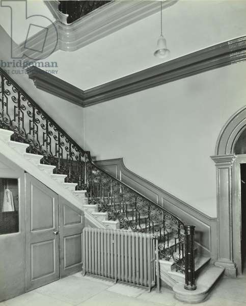 Admiralty, Whitehall, Westminster LB: staircase, 1934 (b/w photo)