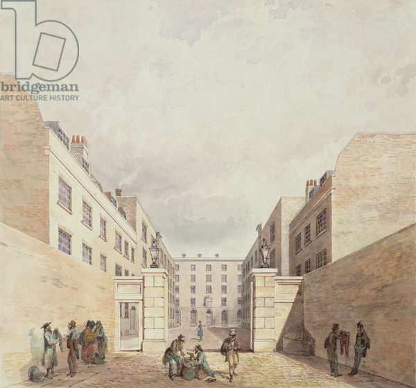 View of the East India Company's warehouses from Cutler Street, 1836 (w/c on paper)
