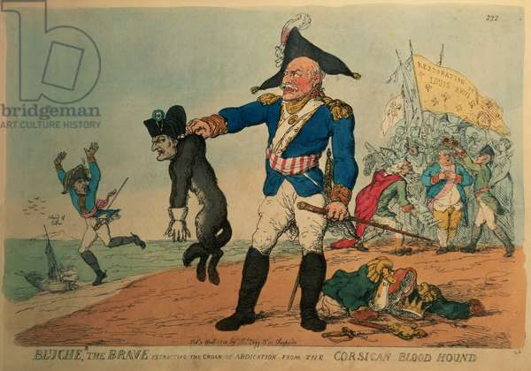 Blucher the Brave (1742-1819): Extracting the Groan of Abdication from the Corsican Bloodhound, Napoleon, (etching)