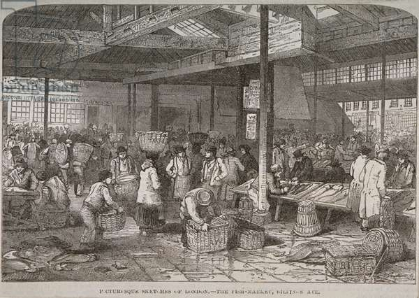 Interior view of Billingsgate market, 1849 (engraving)