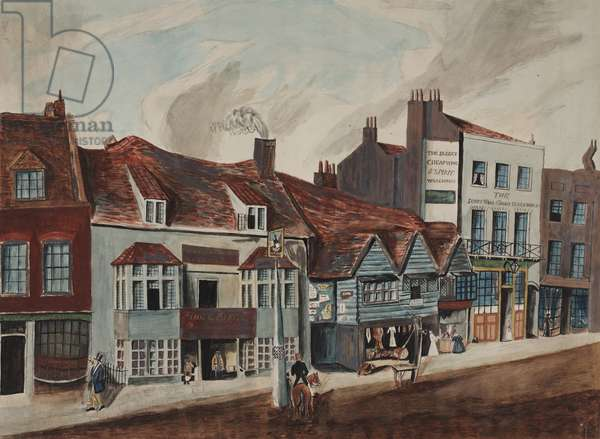 View of Newington Butts, Southwark showing the George Tavern and shop fronts, c.1825 (w/c on paper)