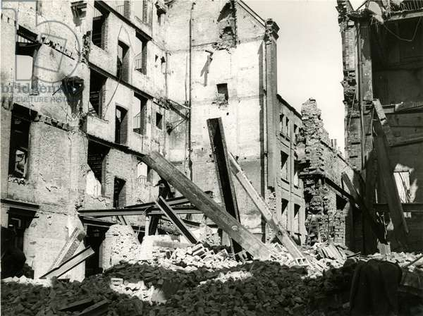 View of Fetter Lane east side : incendiary bomb damage, 1944 (b/w photo)