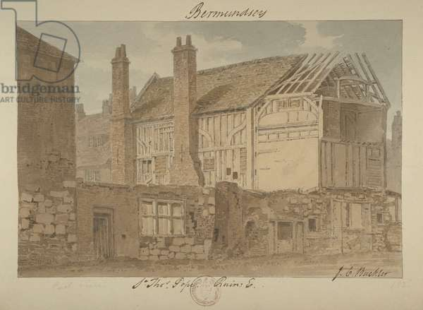 East view of the ruins of Bermondsey House, 1838 (w/c on paper)