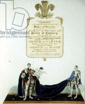 Leopold George-Frederick, Duke of Saxony and Prince of Coburg at the coronation of George IV of England (colour litho)
