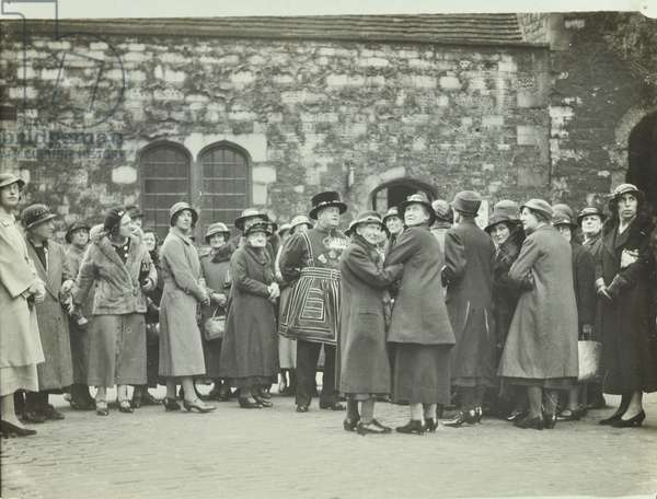 Tower of London, Tower Hill: sightseers and Beefeaters, 1929 (b/w photo)