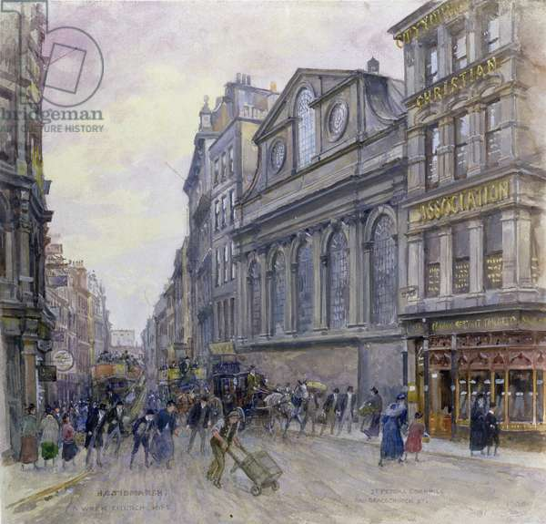 St. Peter's Cornhill and Gracechurch Street, London, 1900 (w/c on paper)