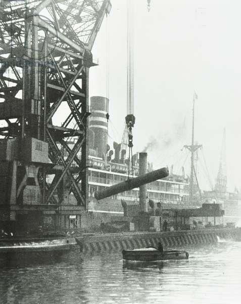 Dock Side: ship unloading, London, 1930 (b/w photo)