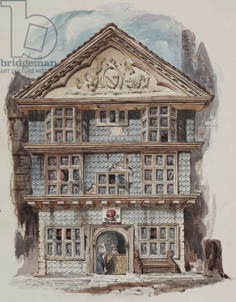 Retrospective view of the Rose Tavern, Fenchurch Street in 1730, c.1805 (w/c on paper
