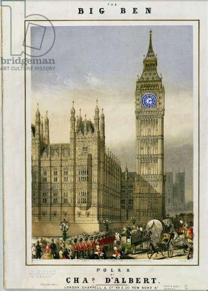 Big Ben Polka, music cover pub. by Hanhart, c.1862 (chromolitho)