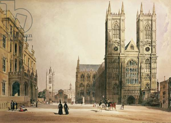 Westminster Abbey and Hospital, 1842 (colour litho)