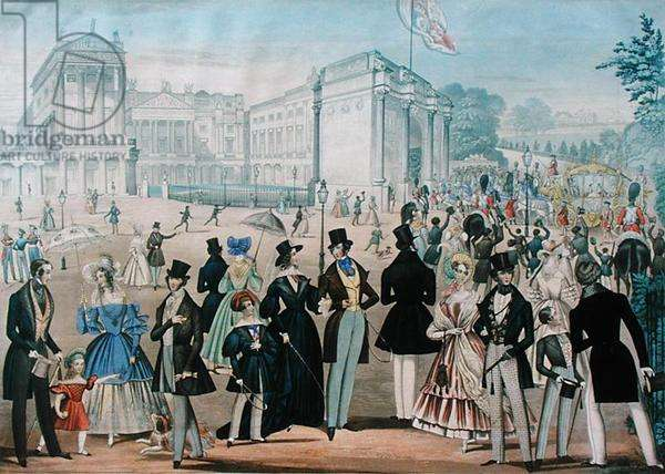 Queen Victoria Returning from the House of Lords, 1839 (aquatint on paper)