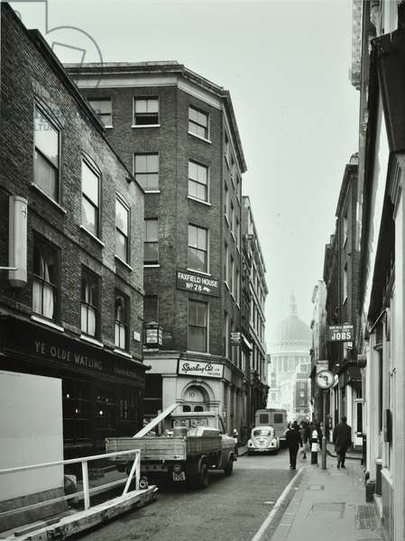 10 Bow Lane, City of London: Watling Street from Bow Lane to Saint Paul's Cathedral, 1973 (b/w photo)
