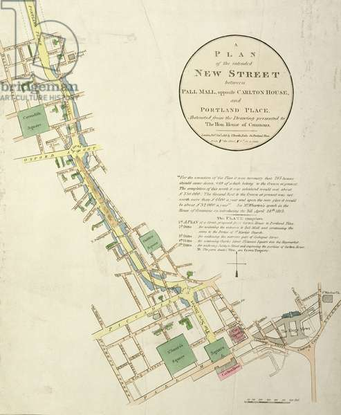A Plan of the Intended New Street between Pall Mall, opposite Carlton House, and Portland Place, designed by John Nash (1758-1835) pub. by J. Booth, 1818 (engraving)