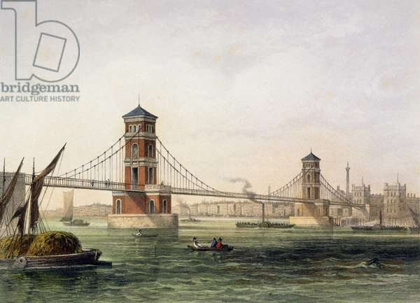 View of Hungerford Bridge from the East, engraved by Jean Jacottet (1806-c.43) 1854 (colour litho)