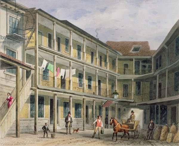 View of Blue Boar Inn yard, no.30 Aldgate, c.1850 (w/c on paper)