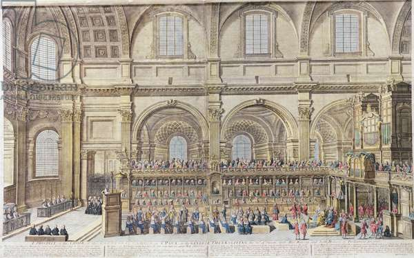 A Prospect of the Choir of the Cathedral Church of St. Paul, on the General Thanksgiving, the 31st of December 1706. Her Majesty and both Houses of Parliament present (hand coloured engraving)