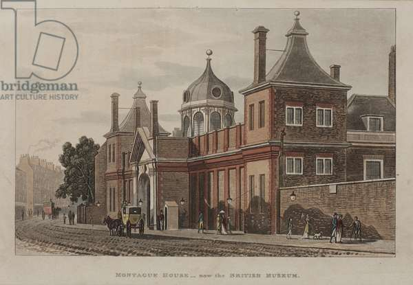 View of the British Museum, Holborn with a street scene, c.1810 (hand-coloured aquatint)