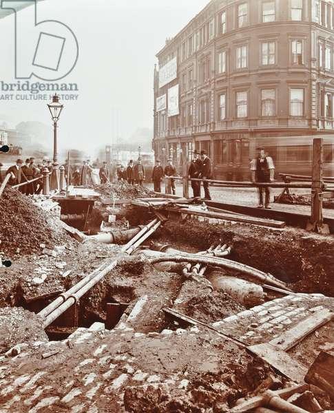 Angel to Highbury tramways: construction of an electrified tramway in progress, 1906 (b/w photo)