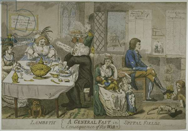 """""""A General Fast in consequence of the War!!""""..., c.1794 (coloured etching)"""
