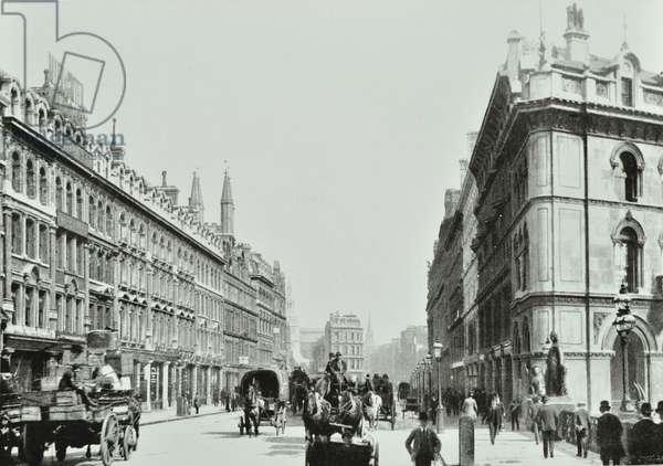 Holborn Viaduct, looking east, City of London, 1875 (b/w photo)