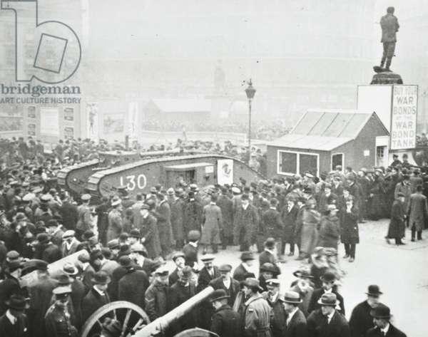 WWI Tank Bank in Trafalgar Square, London, 1917 (b/w photo)