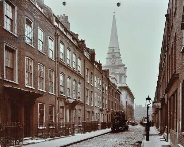 Christ Church Spitalfields, Fournier Street: looking west to Christ Church, 1909 (b/w photo)
