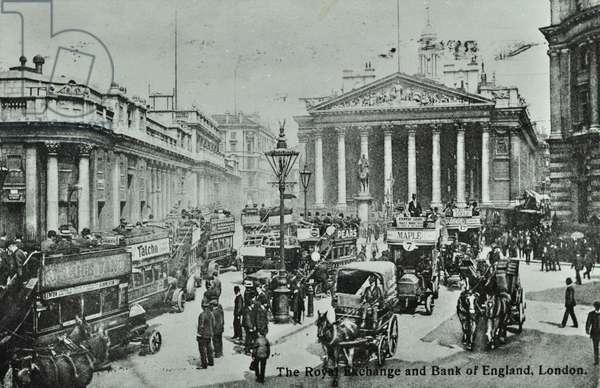 Royal Exchange, Threadneedle Street, City of London, 1908 (b/w photo)
