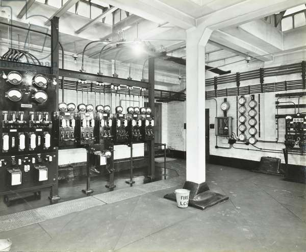 County Hall: electric lighting and heating installations, A switch room, London, 1938 (b/w photo)
