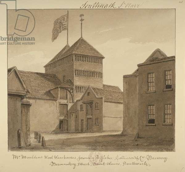 View of wool warehouses in Bermondsey Street, 1828 (wash on paper)