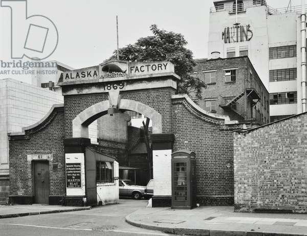 Alaska Factory, 61 Grange Road, London, 1978 (b/w photo)