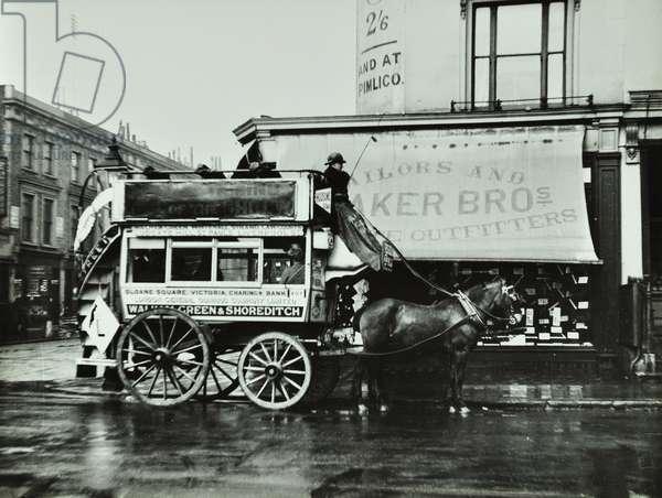 London General Omnibus Company horse-drawn omnibus, Walham Green and Shoreditch, 1909 (b/w photo)