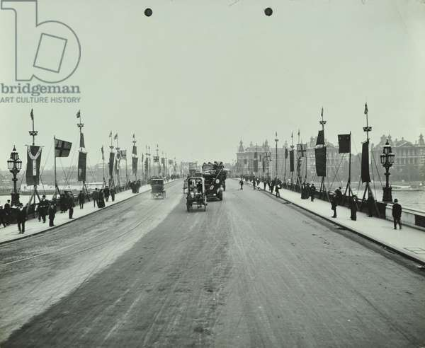 Westminster Bridge decorated for King George V coronation ceremony, 1911 (b/w photo)