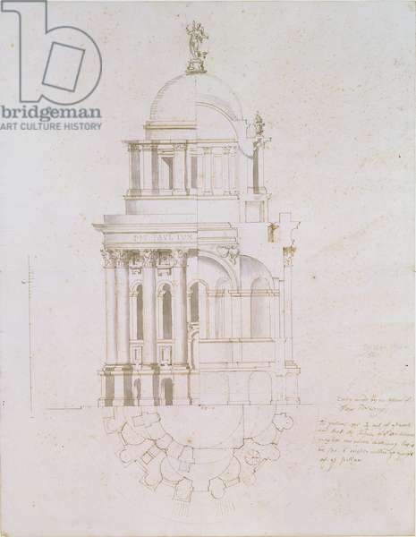 Elevation, cross-section and plan of an unrealised baptistery for St. Paul's Cathedral, c.1711-12 (pen & ink wash on paper)
