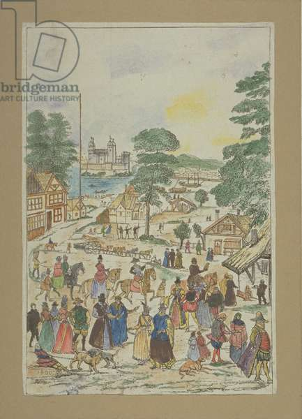 View of a fete in Fair Street, Southwark, c.1850 (coloured engraving)