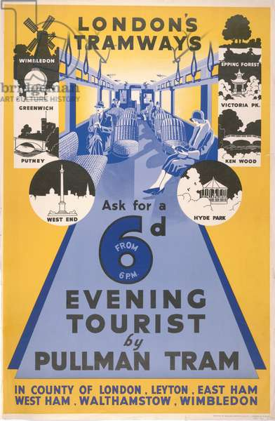 Ask For A 6d Evening Tourist By Pullman Tram, 1932 (colour litho)